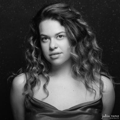 Black and white portrait of woman in Melbourne portrait studio